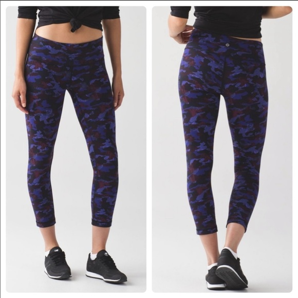 Lululemon Athletica Pants Jumpsuits Lululemon Wunder Under Crop Purple Camo Legging 4 Poshmark